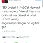 Turkish ruling party MP claims % 20 of ISIS fighters are Harvard graduates. Calls for more religious education... http://t.co/RNywZbSf2K