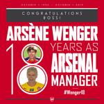 Morning all. Today marks 18 years since the boss took over at @Arsenal! Send your congratulations using #Wenger18 http://t.co/QltfYEb6PX