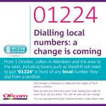From today people in Aberdeen will have to dial 01224 when calling landlines in & around the city. http://t.co/8CD7lIgzwp