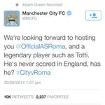 RT @theredsunited: Well.... He has now! #mufc #CityvRoma http://t.co/IuyLp5piI5