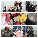 @2000AD Cursed Earth: Wigan. Dredd and I taking down a zombie infestation at @WiganComicCon . #DayofDredd http://t.co/SBRXsHwRSo