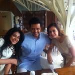.@geneliad , @Riteishd & @deespeak at Dia's pre-wedding brunch !! Friends forever !!