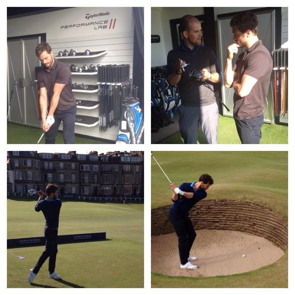 After his fitting with @tomdaviesgolf @JamieDornan is putting his clubs into practice ready for the #DunhillLinks http://t.co/l02rBHgeRw
