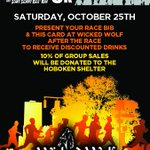 RT @WWolfHoboken: @HoBOOken5K After Party at #wickedwolf on 10/25! 10% of your check gets donated to the @hobokenshelter ! #Hoboken http://t.co/CxAhHFrt6e
