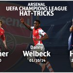 Well done, Danny Welbeck - the third @Arsenal player to score a #UCL hat-trick after @bendtnerb52 and @ThierryHenry. http://t.co/RGlBfh6Trk