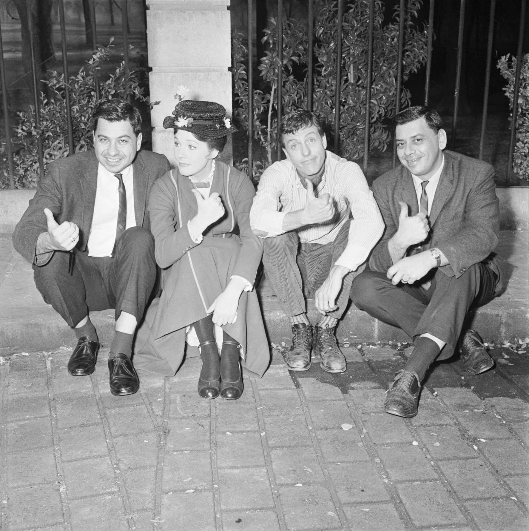 Richard Sherman, Julie Andrews, Dick Van Dyke and Robert Sherman on the set of Mary Poppins. http://t.co/3OHaVSQKi6