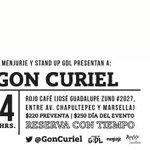 RT @StandUpGDL: ¡Ultima fecha de @GonCuriel en #GDL! ¡Reserven ya en @rojocafe! RT = 2X1 http://t.co/8jD8hhg9c3