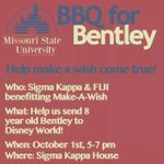 The FIJI & ΣΚ BBQ for Bentley is tonight 5-7pm. For $7 you get dinner and help make a childs wish come true ???? http://t.co/9vyfGUQqdn
