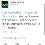 This is how Khanistas of Adolf Khan talk to a woman journalist like @asmashirazi. Shame on Imran Khan! http://t.co/6ozTQk9j1w