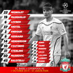 Confirmed #LFC team and substitutes for tonights Champions League clash with FC Basel. Kick-off is 7.45pm BST. http://t.co/UTHbXoVErG