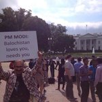 A protest organized by #Indian govt at the White House. Another sign of #Indian terrorism in #Balochistan/#Pakistan. http://t.co/aJzbGT93H8