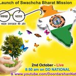 RT @DDNational: Launch of Swachcha Bharat Mission by PM @narendramodi @8:50 am LIVE on @DDNational... @PMOIndia @airnewsalerts http://t.co/bbn768LFk6