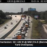 RT @ABCNews4WebGrrl: Dispatch: multiple cars involved in that I26 wreck at MM 214 - Fire+EMS on scene One lane of #chstrfc squeezing by http://t.co/tawGPjzdvi
