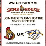RT @SensHouseOttawa: Join us October 9th for the @Senators season opener. Limited reservations, please call: 613.241.5434. http://t.co/QFiZ0wHEHH