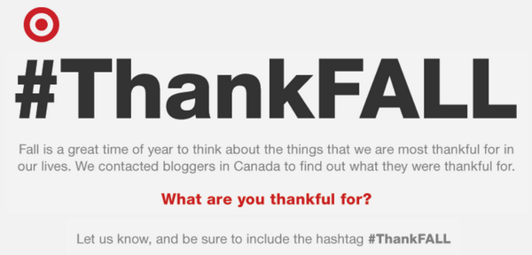 Tell us what u are #ThankFALL for + u could win $250 @TargetCanada GC http://t.co/uhkwUWJALl #Canada http://t.co/HsVhsf2Dcn