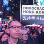 New York for Hong Kong at time square. Umbrella support #OccupyCentral #OccupyHK http://t.co/z9fo24hcN9