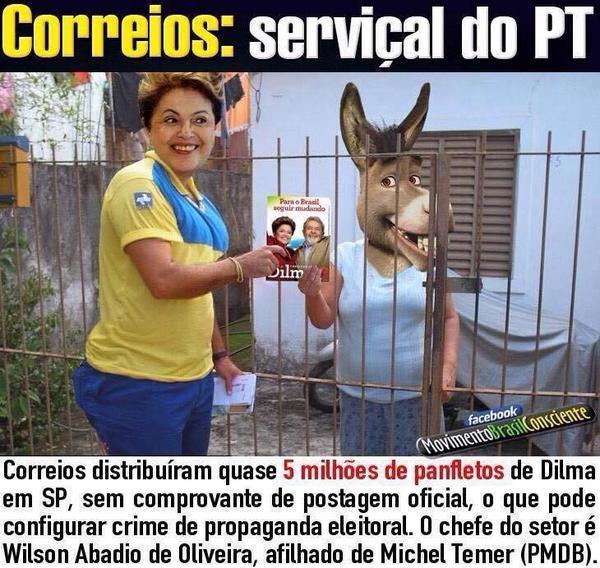Correios distribuíram quase 5milhões de panfletos de Dilma.Os do @AecioNeves foram retidos.Q desespero isso! #MudaBR! http://t.co/LAsFTiLhAy