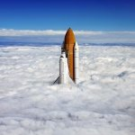 Space Shuttle Breaching the Clouds Photo by Richard Silver http://t.co/kJKwvgd262