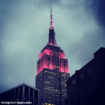 The Empire State Building in New York City is lit in pink for #BreastCancerAwareness Month - #GoPink http://t.co/uxvBsyUSSz