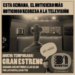 Esta semana volvemos a la tele. Sábado 4 de octubre a las 22.05, por las pantallas de TVN. #31minutos http://t.co/ZykPV00pRH