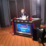 @JustinFauteux prepping for @RangersNationTV, airing tonight at 10:00 pm #BehindTheScenes http://t.co/Ay4YTC77w5