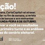 Atenção: a edição desta semana de CartaCapital circulará a partir de segunda, 6, após o primeiro turno das Eleições http://t.co/3JwAuX8Vnm