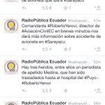 De acuerdo a @radiopublicaEC, son 4 los fallecidos en accidente de avioneta en la localidad de Sarayacu http://t.co/2cygVLKe11