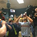 Madison Bumgarner pulls a double Stone Cold, chugs four beers at once (Via @seangentille) http://t.co/tSApl2EHYj http://t.co/PBVbFyyhbF