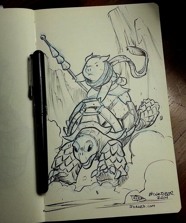 Here's my #inktober day 1 entry. Pig warrior on a tortoise. http://t.co/rcagQp0tAu