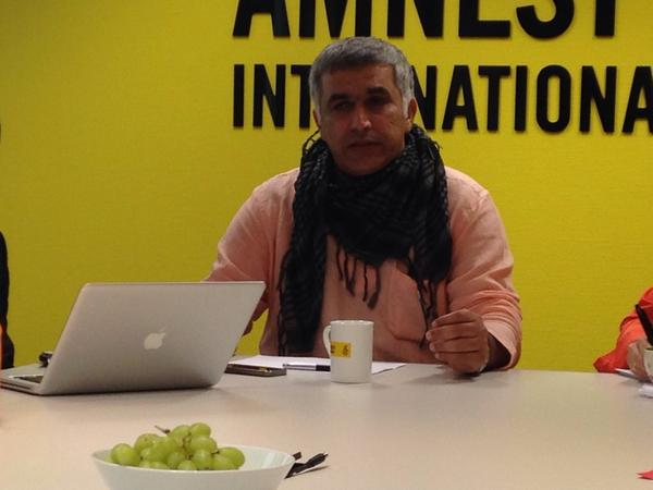 He recently visited our office in Oslo to talk about #HumanRights. Now @NABEELRAJAB is arrested in #Bahrain. http://t.co/yB6VNcFcdw