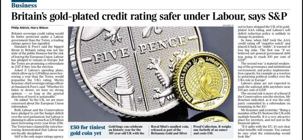 Britain's credit rating would be safer under Labour than Tories, S&P tell The Times http://t.co/Ahq1TLOykY