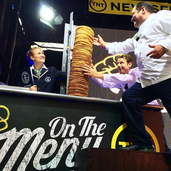 We broke the @GWR for largest stack of pancakes! Tune in to #OnTheMenu tomorrow night at 8/7c @tntdrama #TNT http://t.co/DT6rpkPmhW