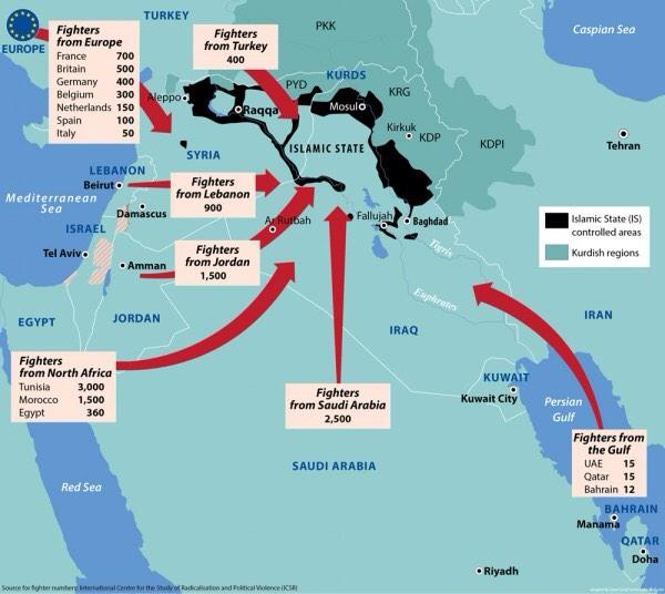 Useful map showing who and from where is coming to join #ISIL http://t.co/fpIrzYiZPZ