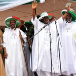 President Jonathan addressing party faithful at the S/West Sensitization & Unity Rally in Lagos today. http://t.co/hS6cGnTkka