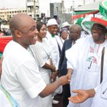 RT @abati1990: President Jonathan & PDP Chair Alhaji Muazu welcoming former APC members to the PDP at the S/W rally in Lagos today. http://t.co/RmGzTf6mct