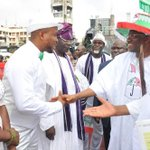 President Jonathan & PDP Chair Alhaji Muazu welcoming former APC members to the PDP at the S/W rally in Lagos today. http://t.co/5nv8BUmvzL