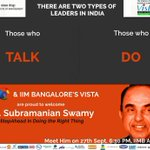 RT @jagdishshetty: Dr @Swamy39 at IIM Bangalore on Sat 27th Sept at 6:30 pm for Public Talk at IIM Auditorium,all are welcome http://t.co/w…