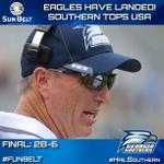 #HailSouthern! @GSAthletics_FB earns first Sun Belt win at @JagsFootball! #FunBelt http://t.co/uD70BnZmRZ