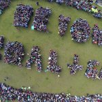 """An aerial view of the Sydney #PeoplesClimate march. """"Beyond coal and gas"""" http://t.co/wzwMHE0Rua"""