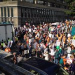 Good crowd already at #PeoplesClimate march in london, an hour before start http://t.co/CjslXc6ram