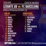 RT @FCBarcelona_es: Repasa la alineación del Barça para jugar contra el Levante #LevanteFCB http://t.co/HhYVNbvRa0