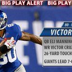 RT @Giants: The #Giants take a 7-0 lead on a yard 26yd TD pass from QB Eli Manning to WR Victor Cruz! #NFL http://t.co/NfHwKowrkg
