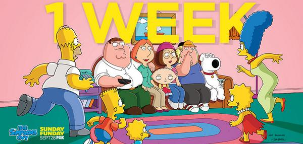 Just ONE WEEK until the Griffins and the Simpsons meet! #familyguy #crossover http://t.co/xmKVyLGwIV