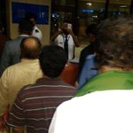 RT @DrAwab: My chairman @ImranKhanPTI standing in line at #karachi airport to board the flight to Islamabad after #PTI4Karachi http://t.co/eKyYiGPghs