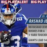RT @Giants: Safety @antrelrolle26 with the interception and RB Rashad Jennings with a one-yard touchdown run! #Giants lead 14-0 http://t.co/XFtvin1GyK