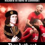 Q. What do #MUFC and Richard the Third have in common?  A. They both got buried in Leicester. http://t.co/4S1xqICTTo