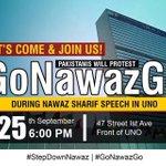 RT @ShahidMursaleen: #GoNawazGo at the UN. This is how Pakistani will welcome a murderer at the UN @waqargillani @SaimaMohsin @AsadHashim http://t.co/GJtHU26xQo