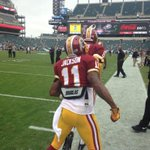 RT @Redskins: Here he comes! @DeSeanJackson11 steps onto Lincoln Financial Field for first time since leaving Eagles. #HTTR http://t.co/YNKSSV2pIG