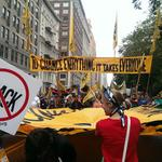 """RT @Peoples_Climate: The back of the #PeoplesClimate March """"To Change Everything it Takes Everyone"""" is moving down Manhattan. http://t.co/reD4zeSI6J"""