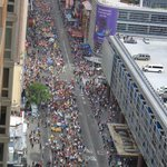 Stunned by scale of #PeoplesClimate march. Pic taken 2.5 hours after it first started passing by my NYC apt. bldg. http://t.co/8d1Xg3G92J